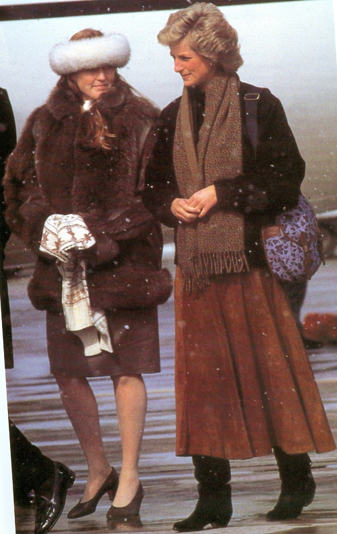 Fergie and Diana on the way to Balmoral