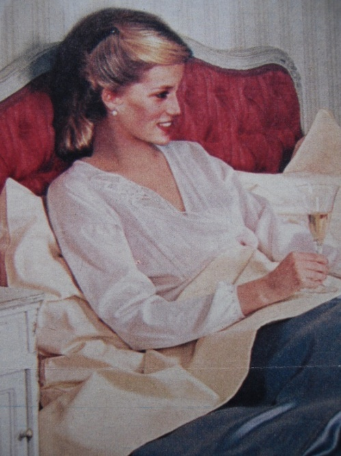 Artist's rendition of Diana relaxing in bed