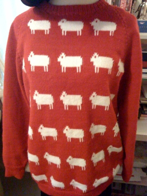 Red sheep sweaters in stock!