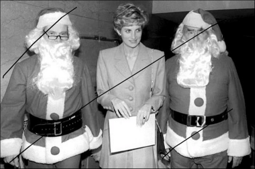 Diana in Paris with Santa Claus twins! c. 1991