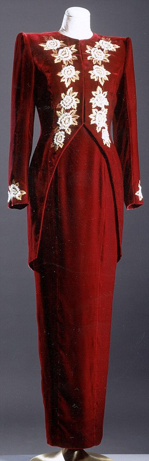 RED VELVET PEARL ENCRUSTED GOWN WITH LONG TAILED WAISTCOAT