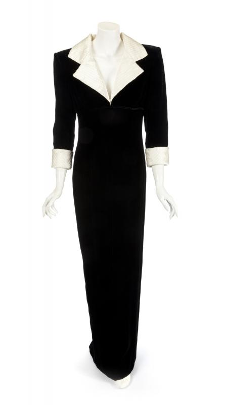 Catherine Walker Black Velvet and Satin Dinner Dress to be auctioned in Hollywood November 9 & 10