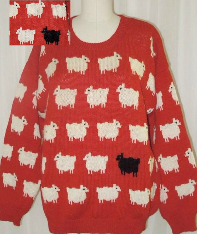JUST IN TIME FOR THE HOLIDAYS!  The Iconic Red Sheep Sweater!