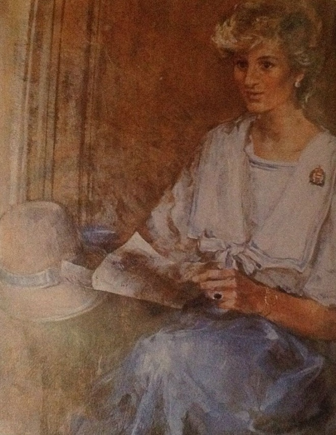 DIANA PRINCESS OF WALES OIL PORTRAIT 1986 by Emily Patrick for the Royal Hampshire Regiment HQ Winchester England