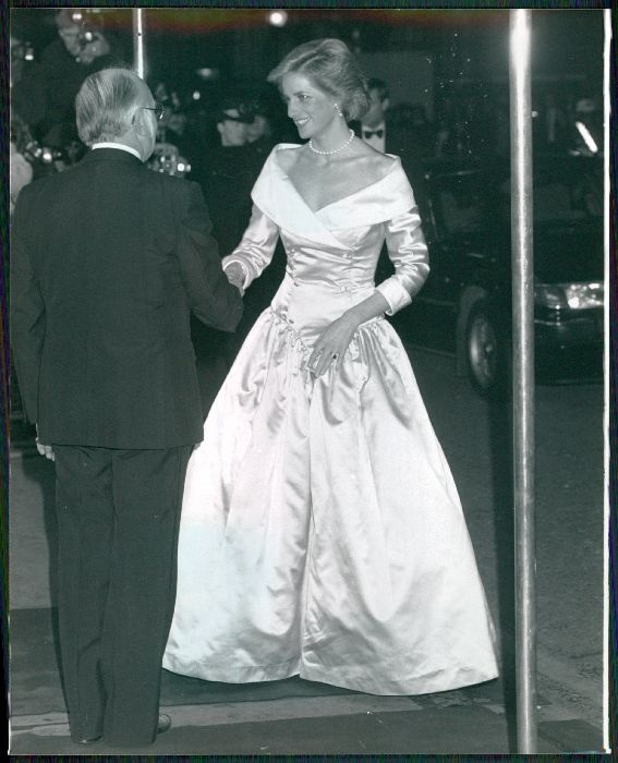 PRINCESS DIANA STEPS OUT IN LONDON c.1990 IN A PINK AND WHITE RAW SATIN GOWN BY  CATHERINE WALKER