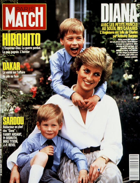 OUR MEMORY OF PRINCESS DIANA IN THE PRESS 19 JANUARY 1989: COVER OF FRENCH MAGAZINE PARIS MATCH WITH WILLIAM & HARRY