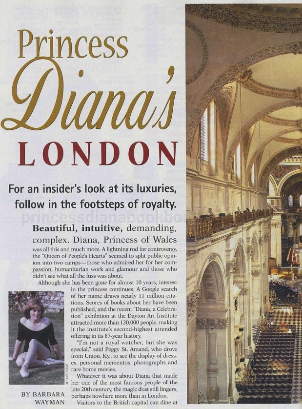 OUR LOOK BACK AT PRINCESS DIANA IN THE AMERICAN PRESS:  JANUARY 2007 HOME AWAY MAGAZINE- PRINCESS DIANA'S LONDON