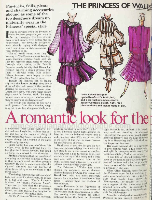1982: FEBRUARY.   A ROMANTIC LOOK FOR THE ROYAL MOTHER-TO-BE,  DAVID NEILL, JULIAFIRTESCUE