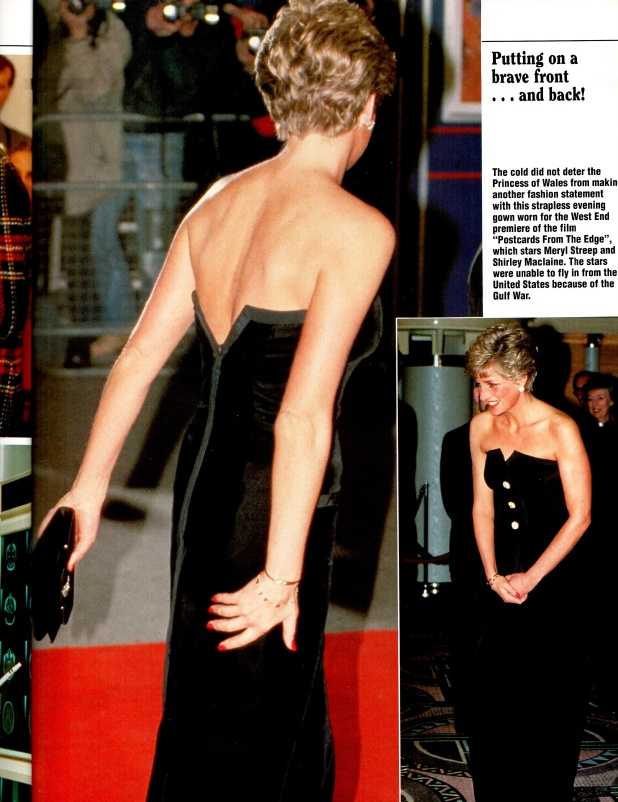 23 January 1991 PRINCESS DIANA ATTENDS THE PREMIERE OF POSTCARDS FROM THE EDGE IN LONDON