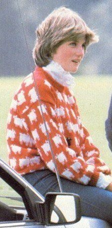 OUR PRINCESS DIANA FASHION ARTICLE TODAY IS A SPECIAL ONE! KNITWEAR – THE ICONIC WARM & WONDERFUL RED BLACK SHEEP PULLOVER SWEATER