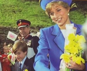 ST DAVID'S DAY MARCH 1 1991 PRINCE WILLIAM ON FIRST OFFICIAL ENGAGEMENT WITH PRINCESS DIANA & PRINCE CHARLES LLANDAFF CATHEDRAL CARDIFF WALES