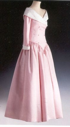 Catherine Walker pink duchesse satin gown with shawl collar and cuff in white raw silk.