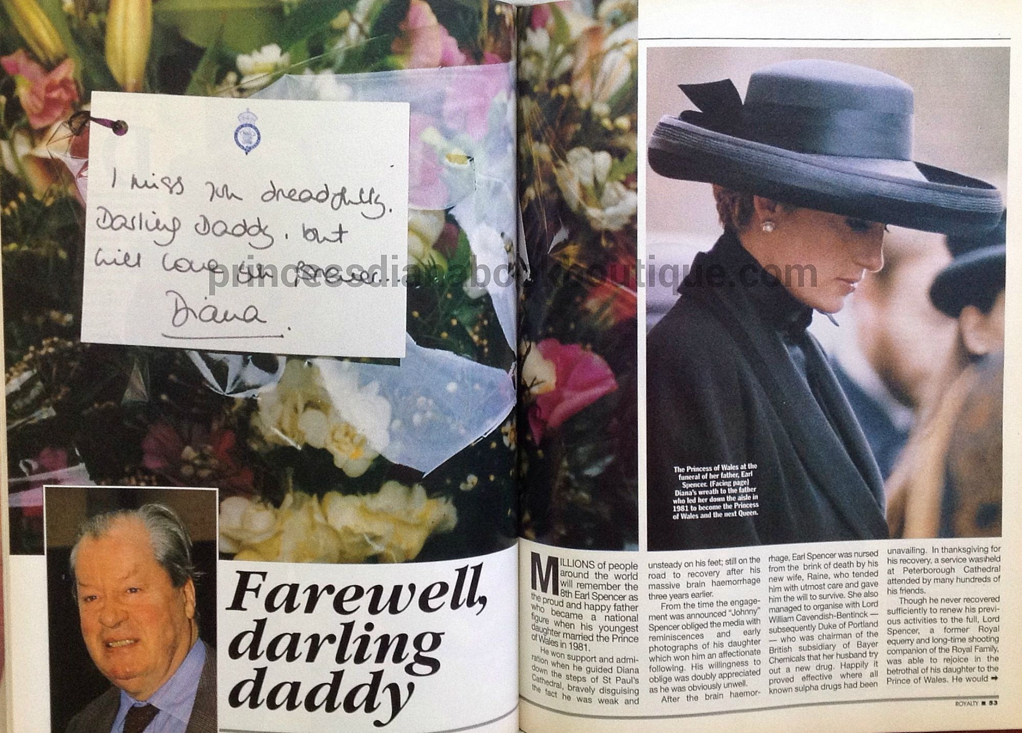 Where Is Princess Diana Buried 1 April 1992 Farewell Darling Daddy Princess Diana And