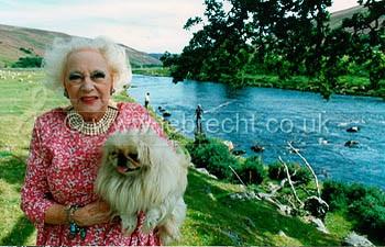 Barbara Cartland at Kilphedir Lodge on the River Helmsdale, September 1990
