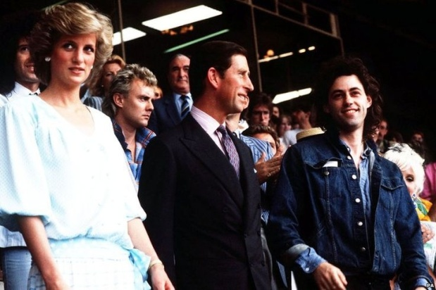 13 July 1985 PRINCE CHARLES AND PRINCESS DIANA OPEN THE LIVE AID FAMINE RELIEF CONCERT FOR AFRICA INLONDON