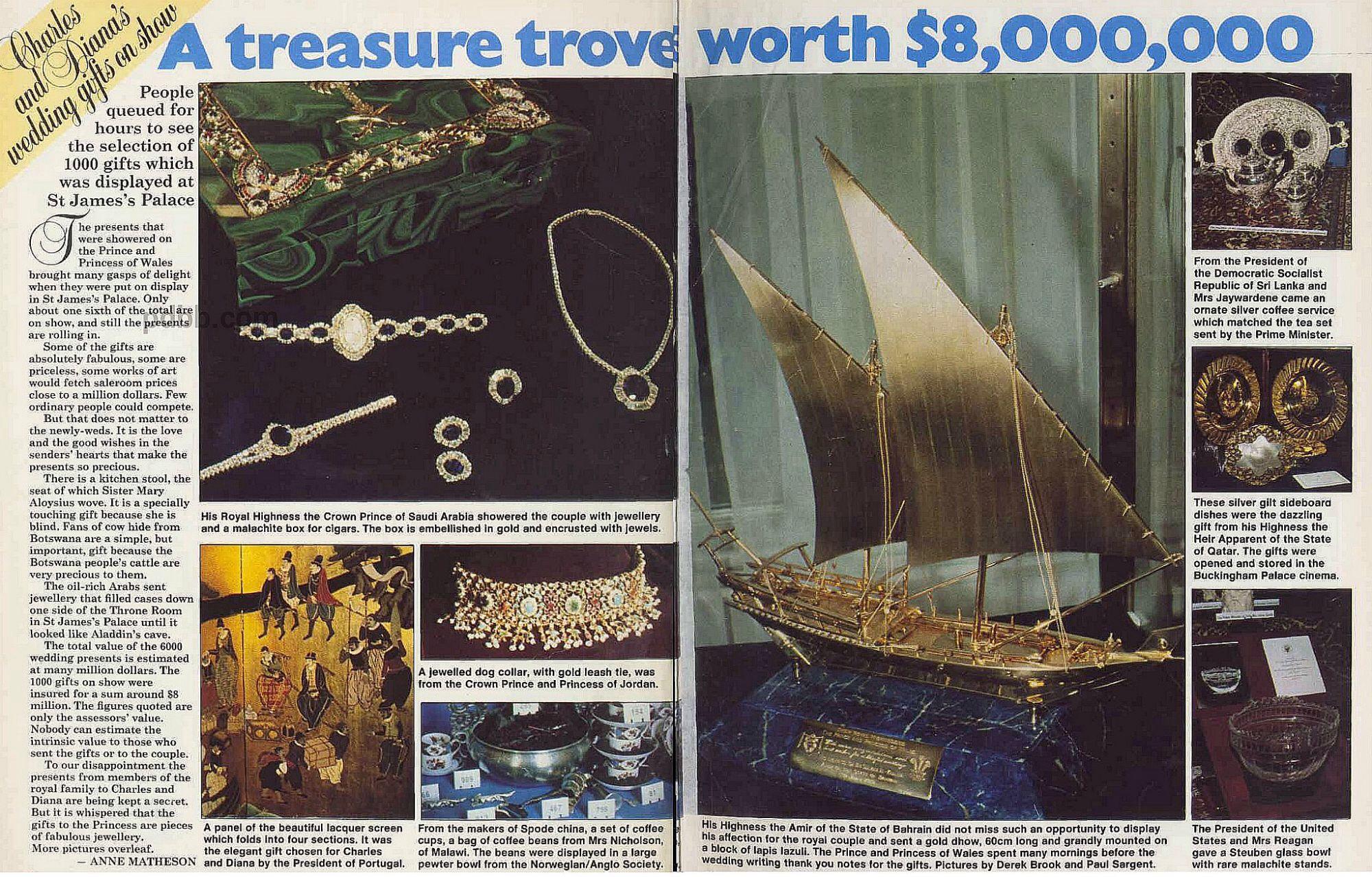 Royal Wedding Gifts: OUR SPECIAL PRINCESS DIANA NEWS BLOG ARTICLE: TREASURE