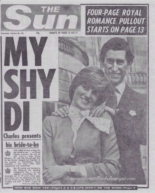 Lady Diana Spener and Prince Charles announce their engagement on February 24, 1981